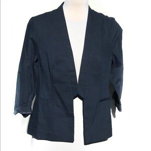 Maurices Navy Linen Open Front Blazer